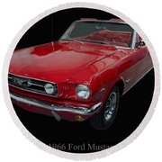 1966 Ford Mustang Convertible Round Beach Towel