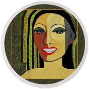 Round Beach Towel featuring the digital art 1966 - Lady With Beautiful Teeth by Irmgard Schoendorf Welch