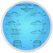 1966 Porsche Car Patent 2 Round Beach Towel