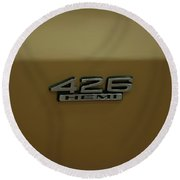 Round Beach Towel featuring the photograph 1967 Belvedere Gtx 426 Hemi Badge by Chris Flees