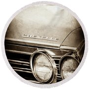 Round Beach Towel featuring the photograph 1967 Chevrolet Chevelle Ss Super Sport Emblem -0413s by Jill Reger