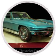Round Beach Towel featuring the digital art 1967 Chevrolet Corvette 2 by Chris Flees