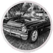 1967 Chevrolet Nova Super Sport Painted Bw 1 Round Beach Towel