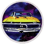 Round Beach Towel featuring the painting 1967 Chevy Camaro Ss by Paula Ayers