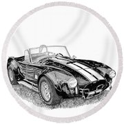 Round Beach Towel featuring the painting 1967 Cobra Sc by Jack Pumphrey