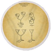 1967 Double Martini Glass Round Beach Towel
