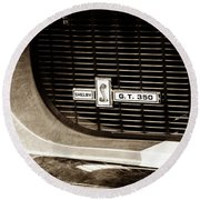 Round Beach Towel featuring the photograph 1967 Ford Gt 350 Shelby Clone Grille Emblem -0759s by Jill Reger