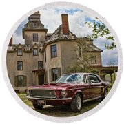 1967 Mustang At The Mansion Round Beach Towel
