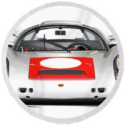 1967 Porsche 910 Illustration Round Beach Towel