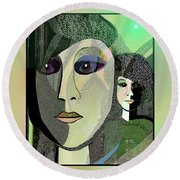 Round Beach Towel featuring the digital art 1968 - A Dolls Head by Irmgard Schoendorf Welch