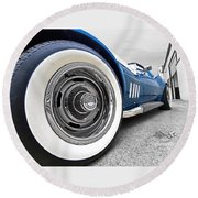 1968 Corvette White Wall Tires Round Beach Towel