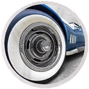 1968 Corvette White Wall Tires Round Beach Towel by Gill Billington