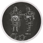 1968 Hard Space Suit Patent Artwork - Gray Round Beach Towel