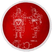 1968 Hard Space Suit Patent Artwork - Red Round Beach Towel