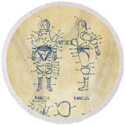 1968 Hard Space Suit Patent Artwork - Vintage Round Beach Towel