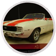 Round Beach Towel featuring the photograph 1969 Chevy Camaro Rs/ss Indy Pace Car by Chris Flees