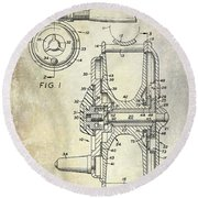 1969 Fly Reel Patent Round Beach Towel