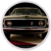 Round Beach Towel featuring the digital art 1969 Ford Mustang by Chris Flees