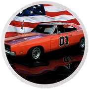 1969 General Lee Round Beach Towel by Peter Piatt