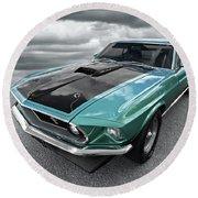 1969 Green 428 Mach 1 Cobra Jet Ford Mustang Round Beach Towel