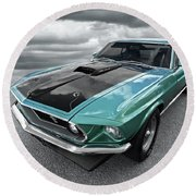 1969 Green 428 Mach 1 Cobra Jet Ford Mustang Round Beach Towel