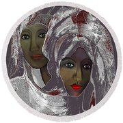 Round Beach Towel featuring the digital art 1969 -  White Veils by Irmgard Schoendorf Welch