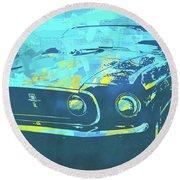 1969 Mustang Mach 1 Blue Pop Round Beach Towel