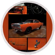 Round Beach Towel featuring the photograph 1969 Plymouth Road Runner A12 by Chris Flees