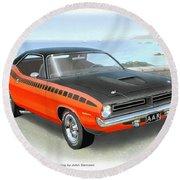 1970 Barracuda Aar  Cuda Classic Muscle Car Round Beach Towel