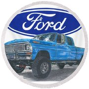 1970 Ford F-250 Crew Cab Round Beach Towel