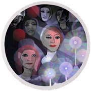 Round Beach Towel featuring the digital art 1970 - A Ceremony by Irmgard Schoendorf Welch