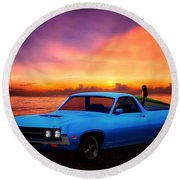 1970 Ranchero Dominican Beach Sunrise Round Beach Towel