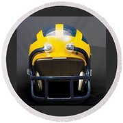 Round Beach Towel featuring the photograph 1970s Wolverine Helmet by Michigan Helmet