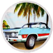 1971 Ford Ranchero At Three Palms - 5th Generation Of Ranchero Round Beach Towel