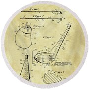 1971 Golf Club Patent Round Beach Towel