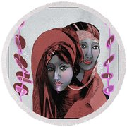Round Beach Towel featuring the digital art 1971- Rosecoloured Portrait 2017 by Irmgard Schoendorf Welch