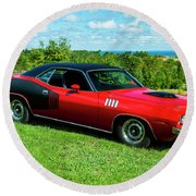 1971 Plymouth Round Beach Towel by Performance Image