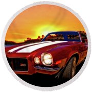 1971 Z28 Camaro Hdr Vivid Remembrance Round Beach Towel