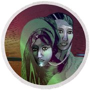 Round Beach Towel featuring the digital art 1972 - 0n A Gloomy Day - 2017 by Irmgard Schoendorf Welch