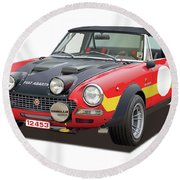 1972 Fiat Abarth 124 Rally Illustration Round Beach Towel