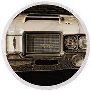 1972 Olds 442 - Sepia Round Beach Towel