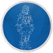 1973 Astronaut Space Suit Patent Artwork - Blueprint Round Beach Towel by Nikki Marie Smith