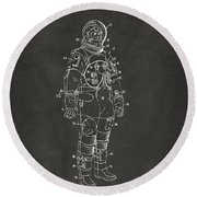 1973 Astronaut Space Suit Patent Artwork - Gray Round Beach Towel