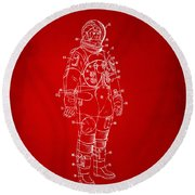 1973 Astronaut Space Suit Patent Artwork - Red Round Beach Towel
