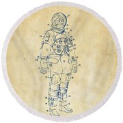 1973 Astronaut Space Suit Patent Artwork - Vintage Round Beach Towel