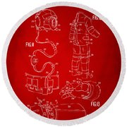 1973 Space Suit Elements Patent Artwork - Red Round Beach Towel