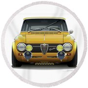 1974 Alfa Romeo Giulia Round Beach Towel by Alain Jamar