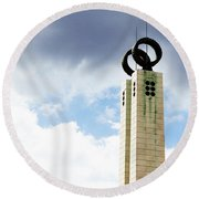 Round Beach Towel featuring the photograph 1974 Revolution Memorial Wrapped In Clouds by Lorraine Devon Wilke