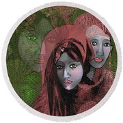 Round Beach Towel featuring the digital art 1974 - Women In Rosecoloured Clothes - 2017 by Irmgard Schoendorf Welch