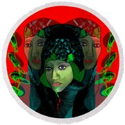 Round Beach Towel featuring the digital art 1975 - Mystery Woman by Irmgard Schoendorf Welch